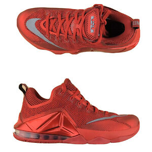 Nike LeBron XII 12 Low Top University Red Basketball Shoes 724557-616 Size 9.5