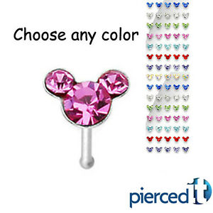 Mickey Mouse Minnie Disney Any Color Multi Gem Silver Nose Ring