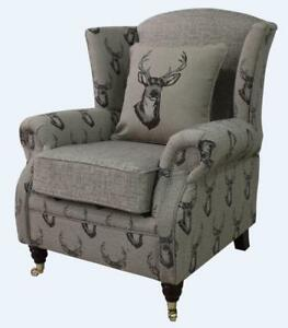 Ashley-Fireside-High-Back-Wing-Armchair-Antler-Stag-Chocolate-Brown-Chair