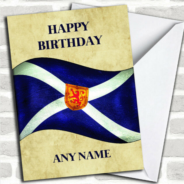 Vintage Scottish Flag Customised Birthday Greetings Card