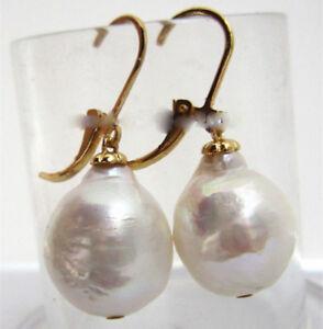 Huge-AAA-13X16mm-South-Sea-White-Baroque-Pearl-Earrings-14K-YELLOW-GOLD-18