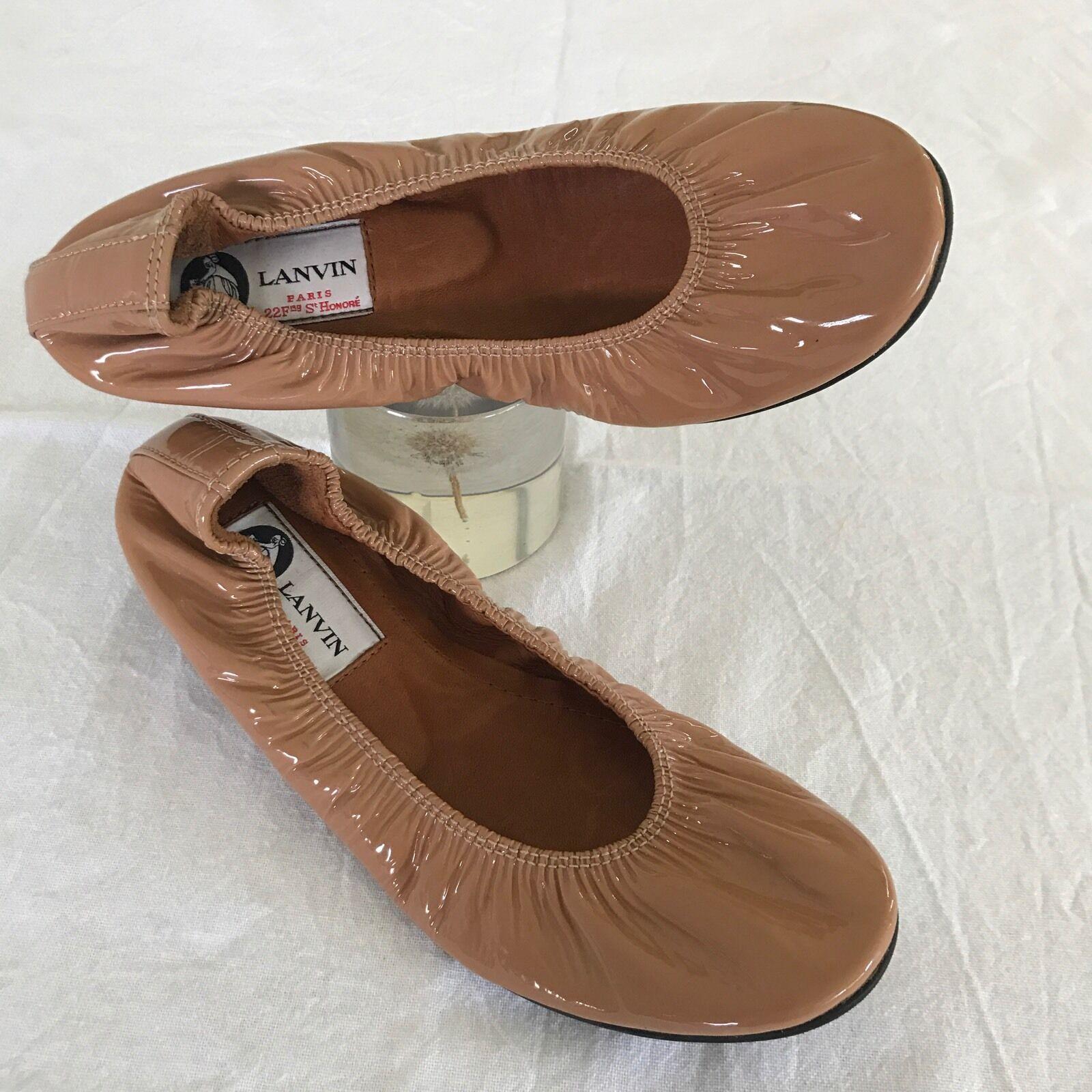NWOB  LANVIN LANVIN LANVIN classic BALLET FLATS  NUDE BEIGE Patent Leather FR 35   EU 34 b4757e