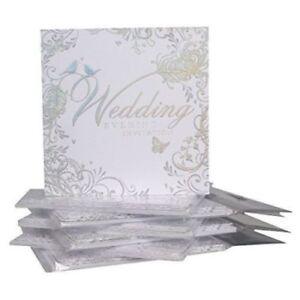 6 x wedding evening party invitation cards envelopes silver