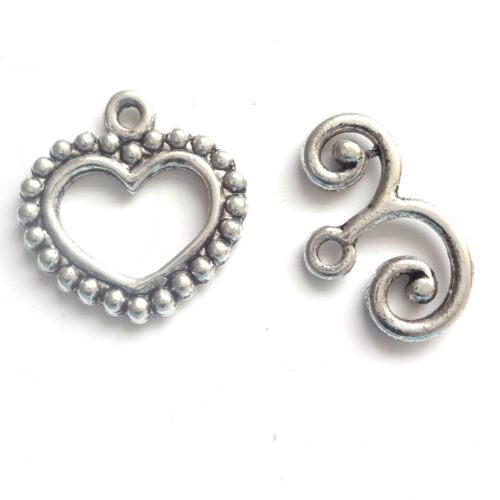 10 sets Argent Antique heart Toggle Fermoir 22x14mm Findings