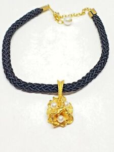 Black-Braided-Cord-Necklace-with-Gold-Tone-Pendant-with-Faux-Pearls-Vintage
