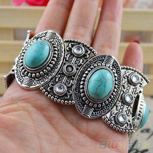 Eg-Damen-Boho-Stil-Retro-Vintage-Natuerlich-Tuerkis-Tibet-Silber-Armband-Ba