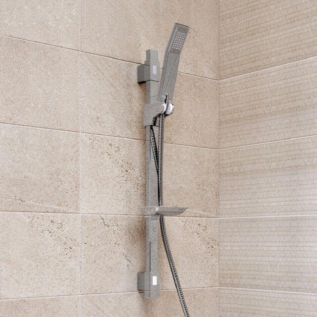 Shower Riser Slide Rail Bar Kit Hose Bracket Square Shower Head Chrome Shower