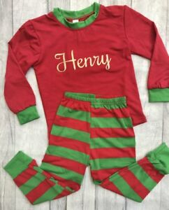 72ac1cb663 Image is loading PERSONALISED-CHRISTMAS-PJS-Red-Green-Stripe-GIRL-BOY-