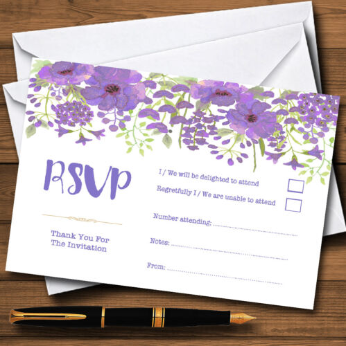 Watercolour Floral Purple Personalised RSVP Cards