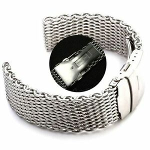 Solid-clasp-22mm-Stainless-Steel-Band-Shark-Mesh-Watch-Strap