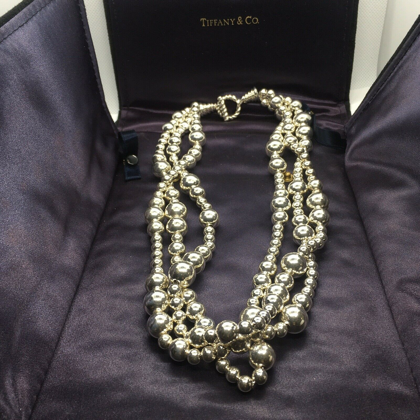 Tiffany Co Multistrand Torsade Graduated Sterling Silver Bead Necklace For Sale Online