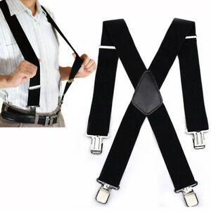 Mens Suspenders X Style Very Strong Clips Adjustable Fits All Heavy Duty  Braces 4c8956c72
