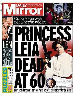 Princess Leia Carrie Fisher Death Special The Mirror Newspaper 28 December 2016