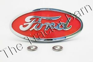 Licensed Ford 8N Red & Chrome Front Hood Emblem Ornament 8N16600A 8N16600B Grill