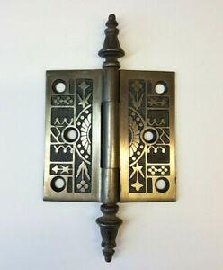 "Eastlake Aesthetic Movement Brass Finish Iron 3-1/2"" Hinge Steeple Tip Victorian"