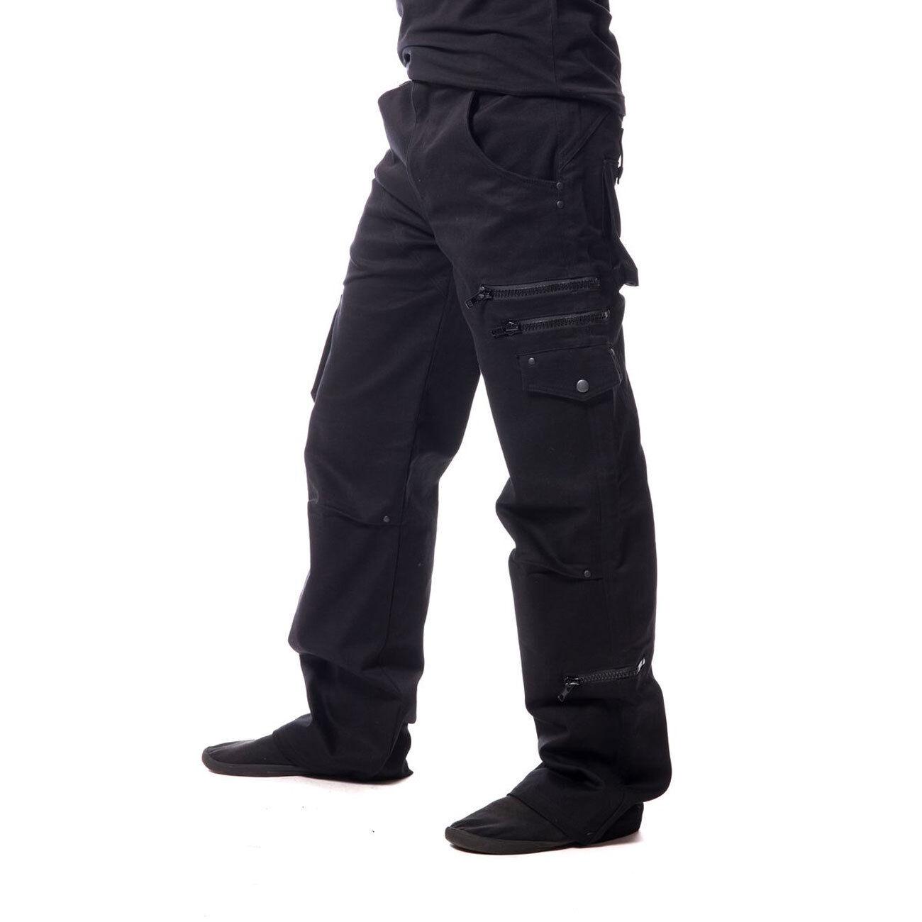 ViXXsin LEON PANTS Gothic Hose viele Taschen Freizeithose Punk schwarz Zipper