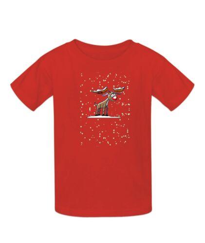 Festive Renna-GLOW IN THE DARK-Naso di Rudolph Glow Ragazzi T-shirt DI NATALE