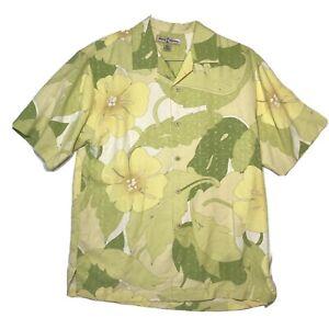 Tommy-Bahama-Mens-Small-Hawaiian-Camp-Shirt-Floral-Green-Yellow-Flowers-Silk-EUC