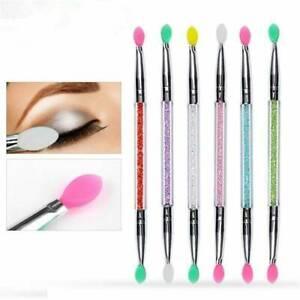 Cosmetic-Double-end-Silicone-Eye-Shadow-Eyeliner-Brush-Rhinestones-Makeup-Tool