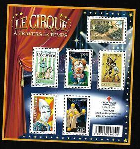 Bloc-Feuillet-2008-N-121-Timbres-France-Neufs-Le-Cirque-a-Travers-le-Temps