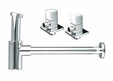 Design Siphon Ablaufventil mit 2 Eckventil Sifon Ablauf Waschbecken Set Eckig