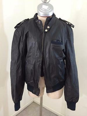 vintage 1970s genuine leather bomber jacket men size S small black lined