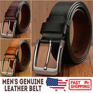 Men-039-s-Greek-Key-Metal-Buckle-Handcrafted-Genuine-Leather-Jean-Belt