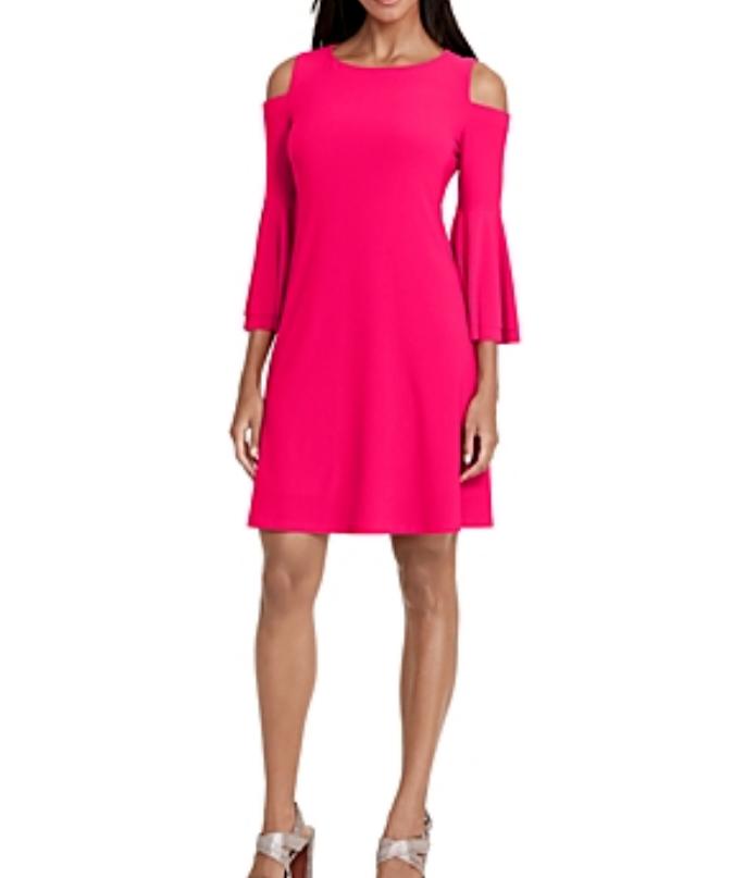 NWT 14 Ralph Lauren Pink Cold Shoulder Bell Sleeve Sleeve Sleeve Stretch Jersey Dress  140 ead277