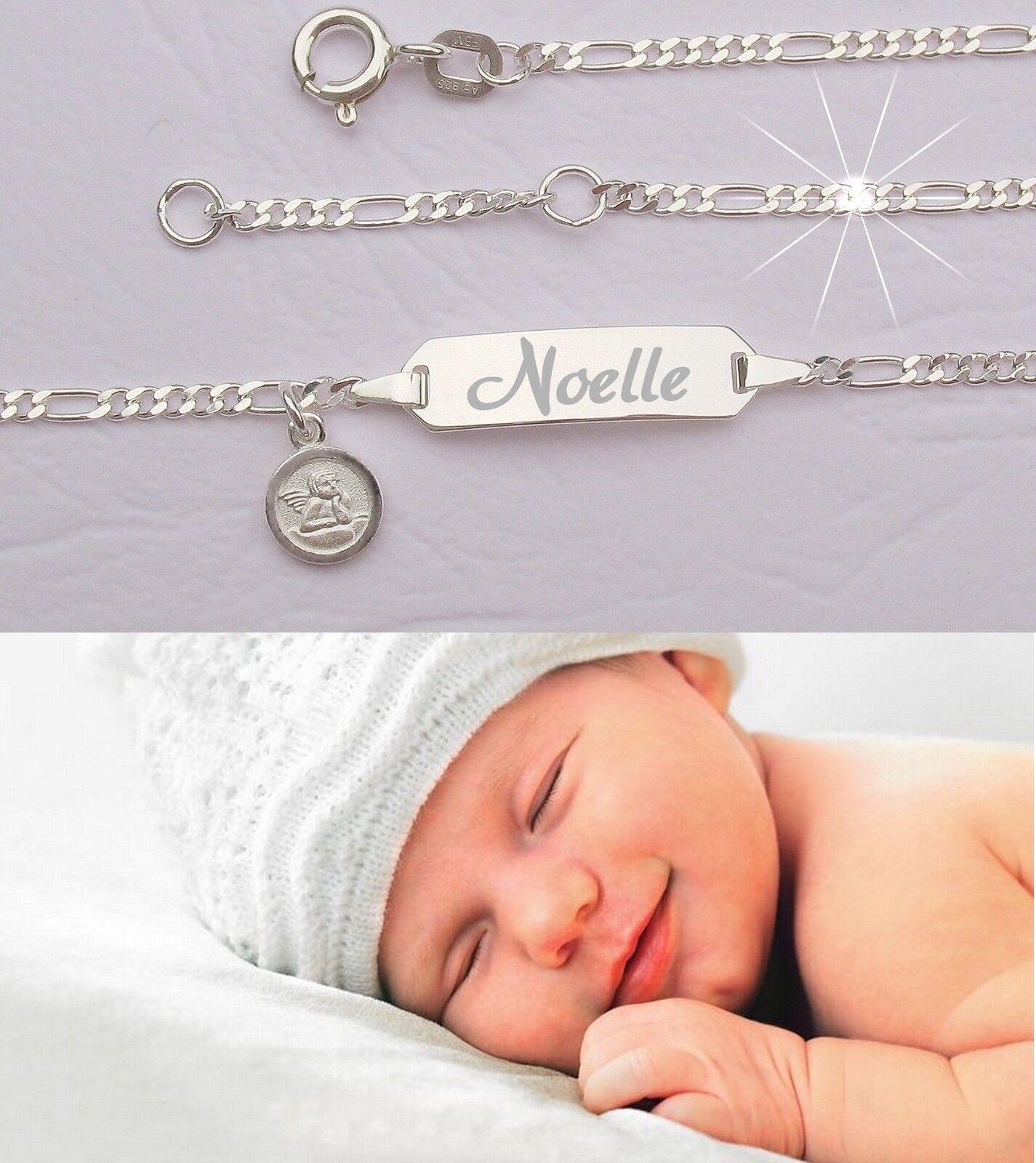 GRAVUR NAME DATUM Babyarmband Babyarmkette Echt Silberkette mit Silberstempel