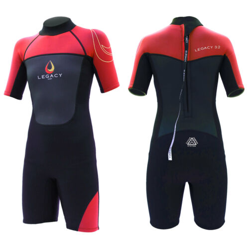 Legacy 3//2mm Childs Kids Junior Teenage Shortie Wetsuit Short Wet Suit Age 4-16