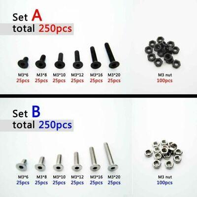 320pcs M2 M2.5 M3 DIN912 Allen Bolts Hex Socket Head Cap Screws Assortment Kit