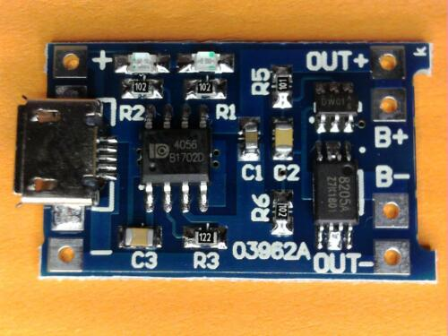3x LiPo Lion Micro USB Lademodul 5V 1A 18650 TP4056 TE420