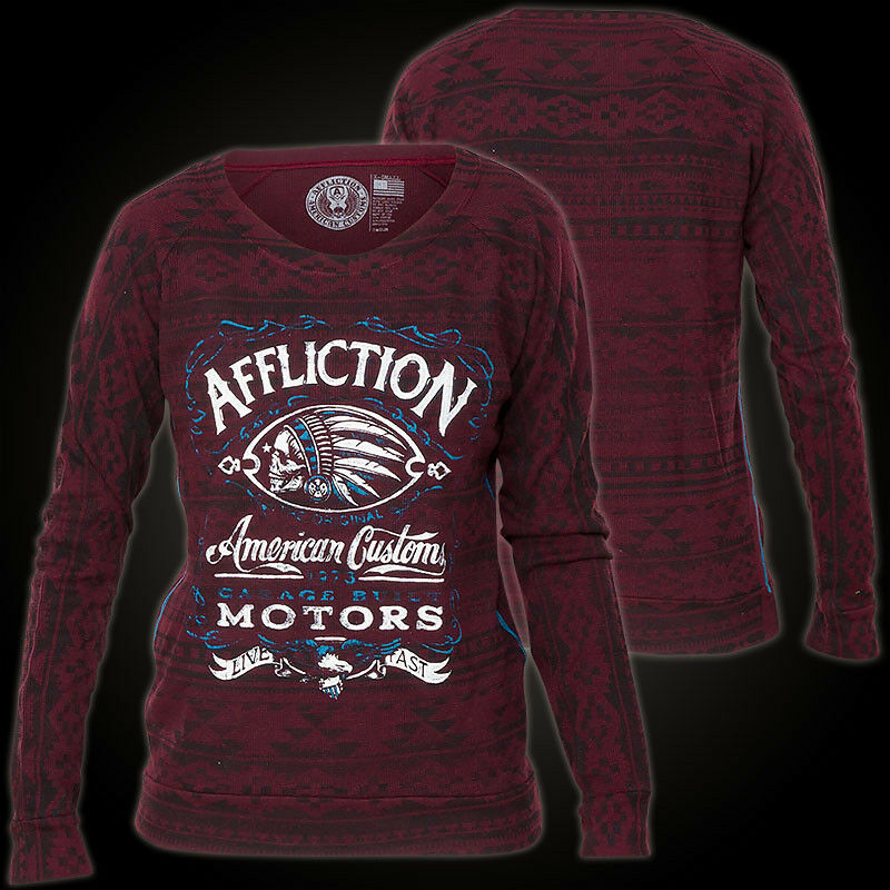 Affliction Woman Long Sleeve Raglan Prohibition Red