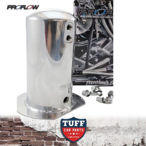 Proflow Polished 2.5lt Fuel Surge Tank with Barb Fittings Suit Bosch 044 2.5l