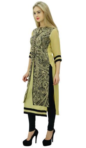 Bimba Straight Paisley Embroidered 3//4 Sleeve Ethnic Kurti Tunic Blouse Beige