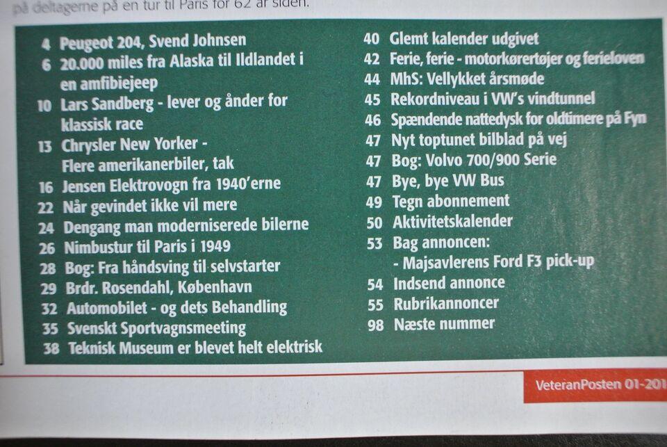veteranposten nr. 1 2014 8. årgang, emne: bil og motor