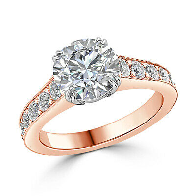Jewellery & Watches Fine Rings Learned 14k Rose Gold Ring 2.25 Ct Round Diamond Wedding Beautiful Ring Size N 1/2 L M