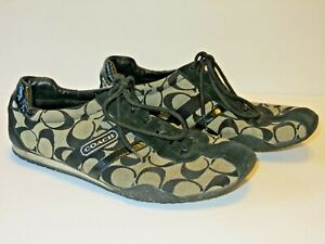 Coach-Katelyn-women-039-s-size-9M-casual-tie-shoes-logo-all-over-comfort-black-beige