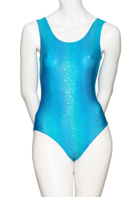 Katz Dancewear Ladies Girls Rainbow Star Print Lycra Dance Racer Back Crop Top KCTS-5