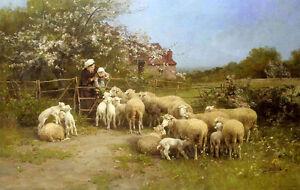 Oil-painting-luigi-chialiva-cibo-per-i-piccoli-shepherdess-with-flock-sheep