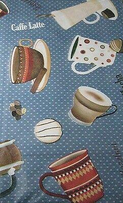 Elrene Blue Latte Mocha Coffee Espresso Java vinyl flannel back tablecloth 52x90
