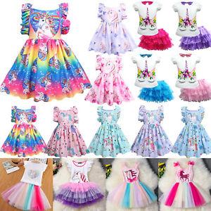 4816f65724d7 Girls Unicorn Dress Children Kids Party Tutu Dresses Princess Summer ...