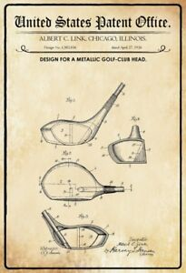 Ee-uu-Patent-Golf-Palo-Cabeza-Club-1926-Letrero-de-Metal-Cartel-Lata-20-X-30Cm