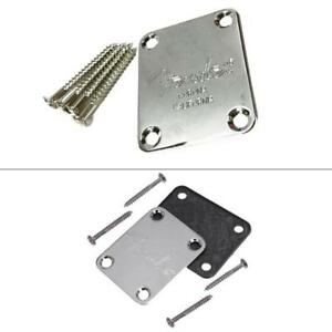 Electric-Guitar-Neck-Plate-Chrome-Silver-With-4Screws-Rubbermat-for-Fender-Strat