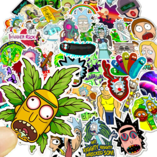 50 PCS Rick And Morty Stickers bomb Vinyl Laptop Luggage Decals Dope Sticker lot