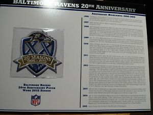 Details about Willabee & Ward NFL Baltimore Ravens 20th Anniversary Patch Card 2015