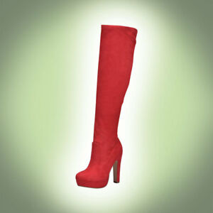 c02eb687f62 Details about Slim Heel Zipper On Knee High Pointed Top Suede Platform  Boots #Jaclyn