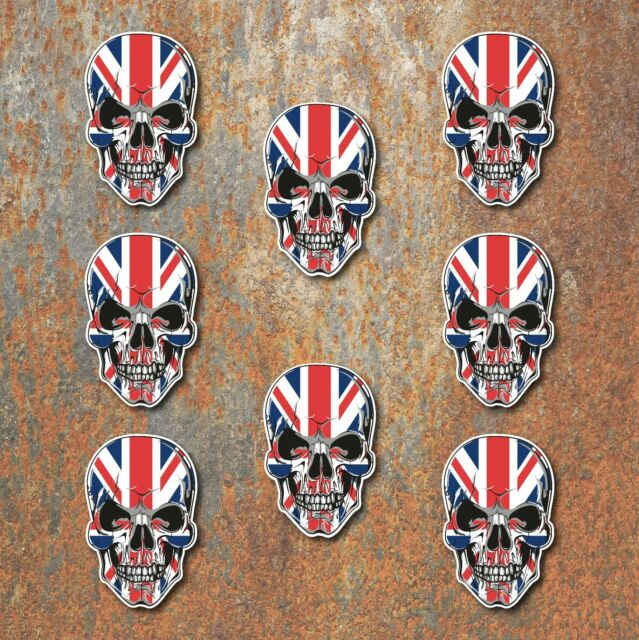 Union Jack Chequered Flag Laminated Sticker set Car Motorbike Triumph