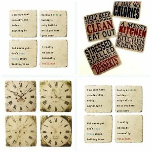 Choice of 3 Coaster Sets ~ Clock Faces, Kitchen Phrases or ...