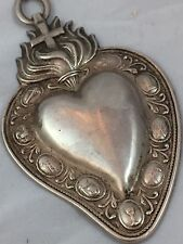 Collana cuore ex voto metallo bagno argento  vintage milagros Mary Madonna Gr
